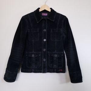 Vintage Analog Black Corduroy Bomber Jacket